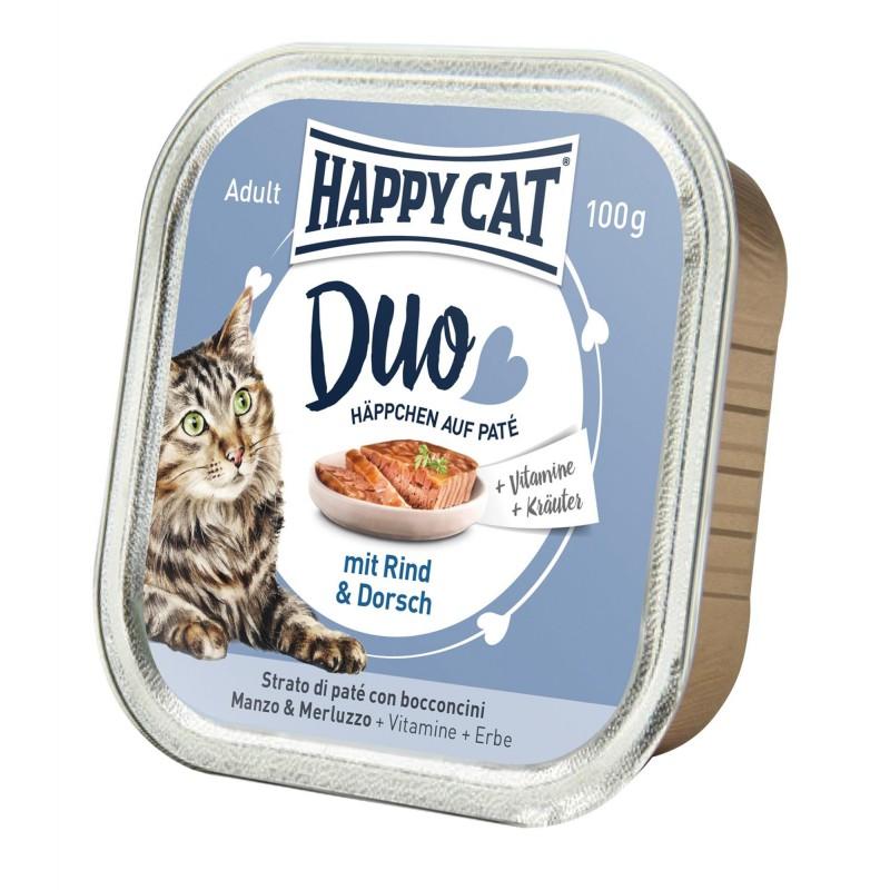 Happy Cat Deserówka Duo pasztet wołowina i dorsz 100g