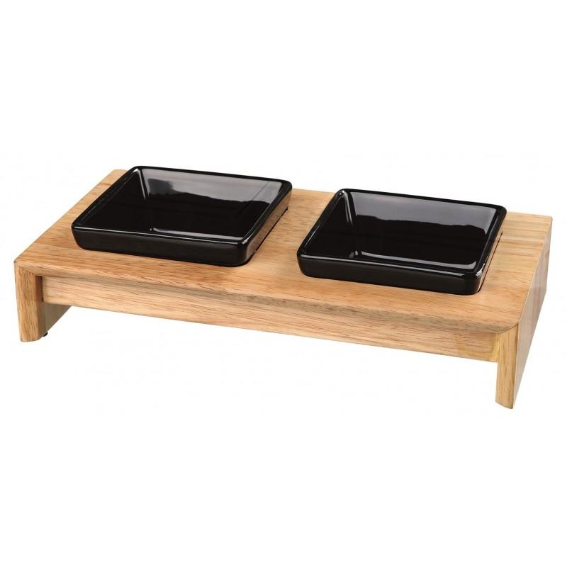 TRIXIE Zestaw misek dla kota ceramiczno-drewniany