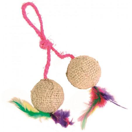 TRIXIE Dwie piłeczki na sznurku dla kota