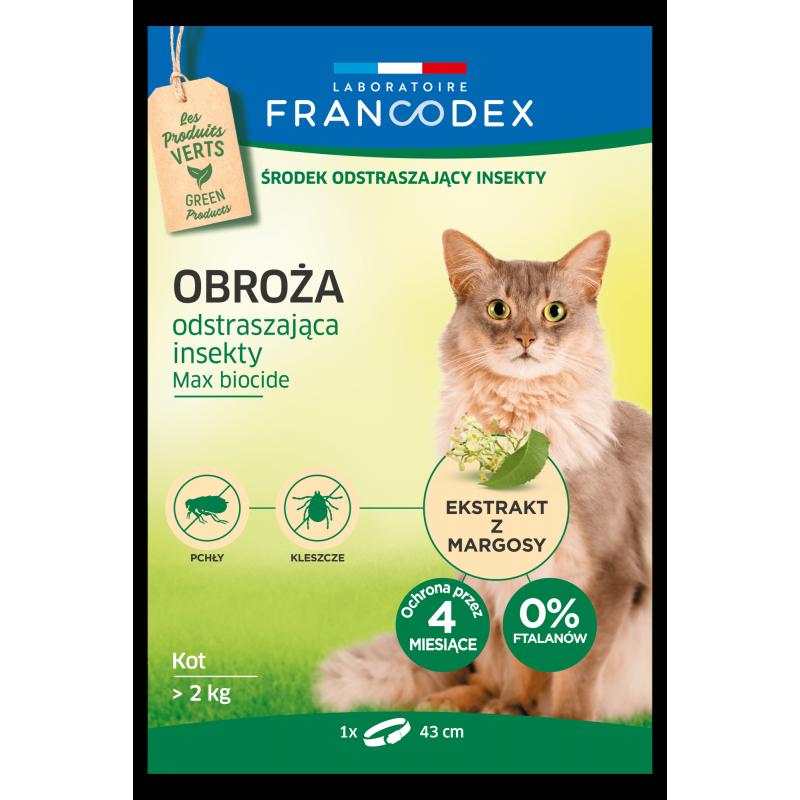 FRANCODEX Obroża dla kotów powyżej 2 kg odstraszająca insekty - 4 miesiące ochrony, 43 cm