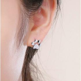 Kolczyki srebrne w kształcie łapki